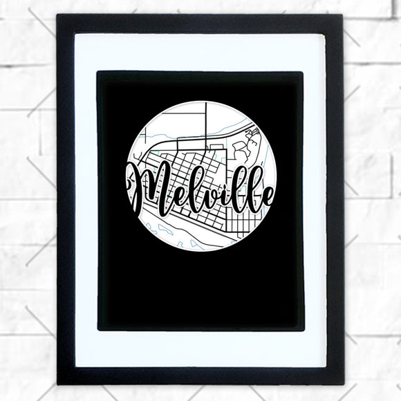 Close-up of Melville hometown map design in black shadowbox frame with white matte