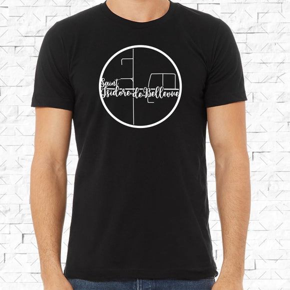 adult-sized black short-sleeved shirt with white Saint Isidore De Bellevue hometown map design