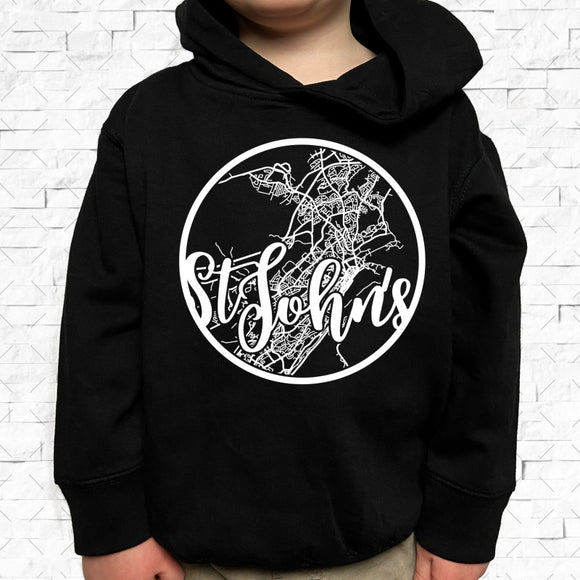 toddler-sized black hoodie with St. John's hometown map design