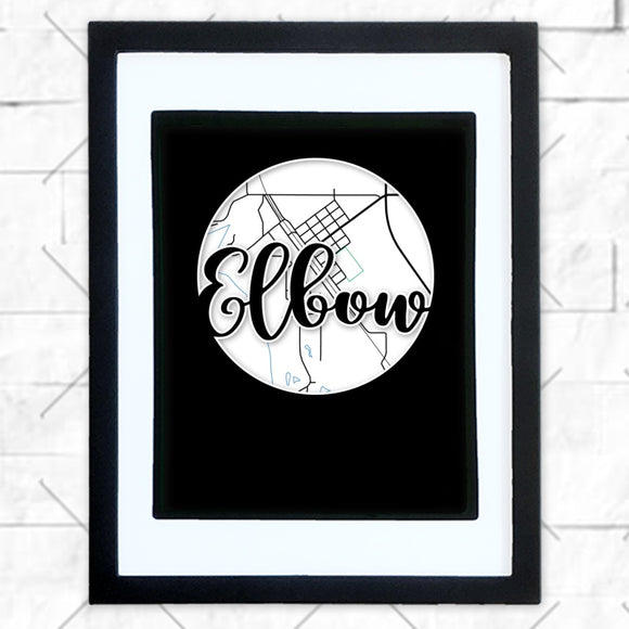 Close-up of Elbow hometown map design in black shadowbox frame with white matte