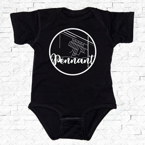 baby-sized black short-sleeved onesie with Pennant hometown map design