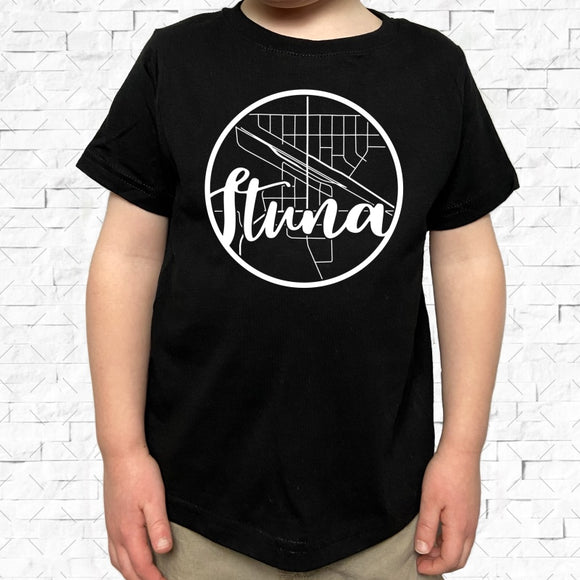 toddler-sized black short-sleeved shirt with white Ituna hometown map design