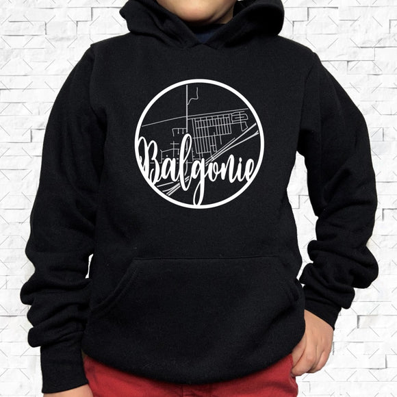 youth-sized black hoodie with white Balgonie hometown map design