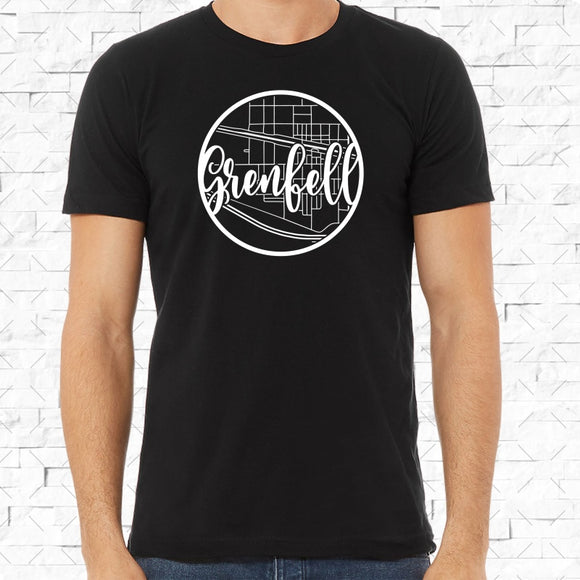 adult-sized black short-sleeved shirt with white Grenfell hometown map design
