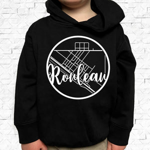 toddler-sized black hoodie with Rouleau hometown map design