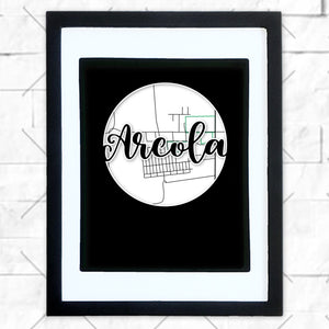 Close-up of Arcola hometown map design in black shadowbox frame with white matte