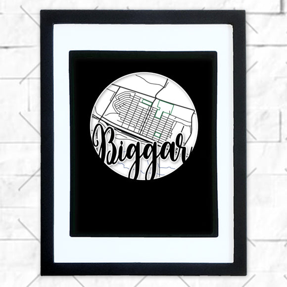 Close-up of Biggar hometown map design in black shadowbox frame with white matte