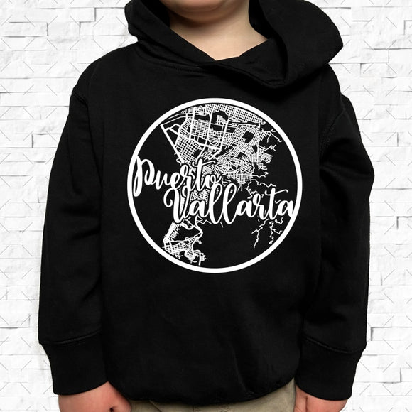 toddler-sized black hoodie with Puerto Vallarta hometown map design