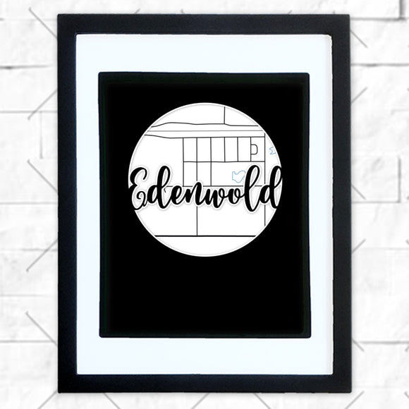 Close-up of Edenwold hometown map design in black shadowbox frame with white matte
