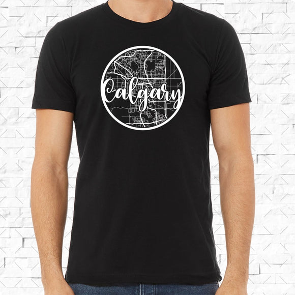 adult-sized black short-sleeved shirt with white Calgary hometown map design