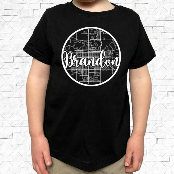 toddler-sized black short-sleeved shirt with white Brandon hometown map design
