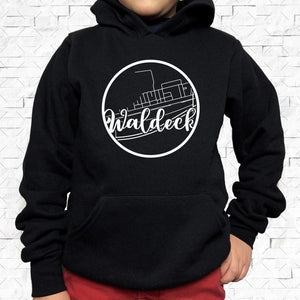 youth-sized black hoodie with white Waldeck hometown map design