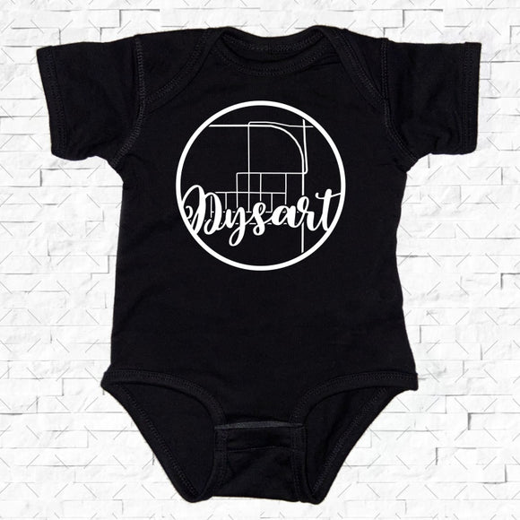 baby-sized black short-sleeved onesie with Dysart hometown map design