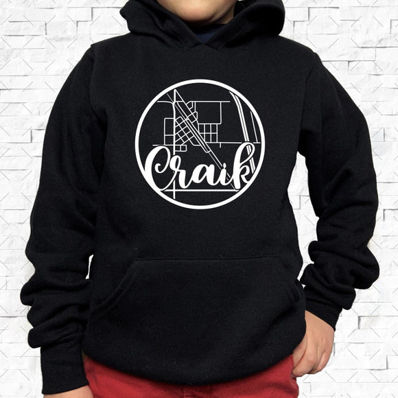 youth-sized black hoodie with white Craik hometown map design