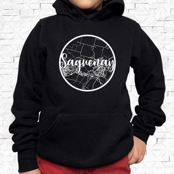 youth-sized black hoodie with white Saguenay hometown map design