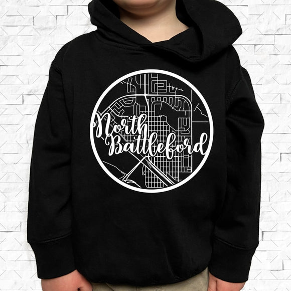 toddler-sized black hoodie with North Battleford hometown map design