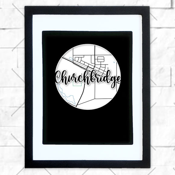 Close-up of Churchbridge hometown map design in black shadowbox frame with white matte