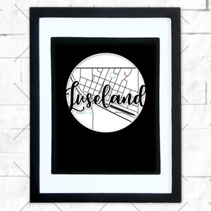 Close-up of Luseland hometown map design in black shadowbox frame with white matte
