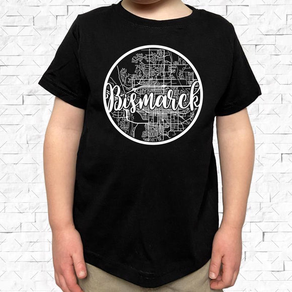 toddler-sized black short-sleeved shirt with white Bismarck hometown map design