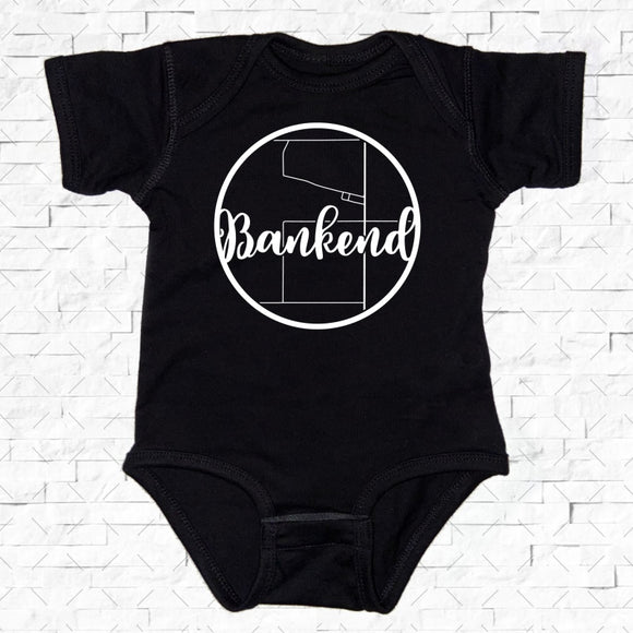baby-sized black short-sleeved onesie with Bankend hometown map design