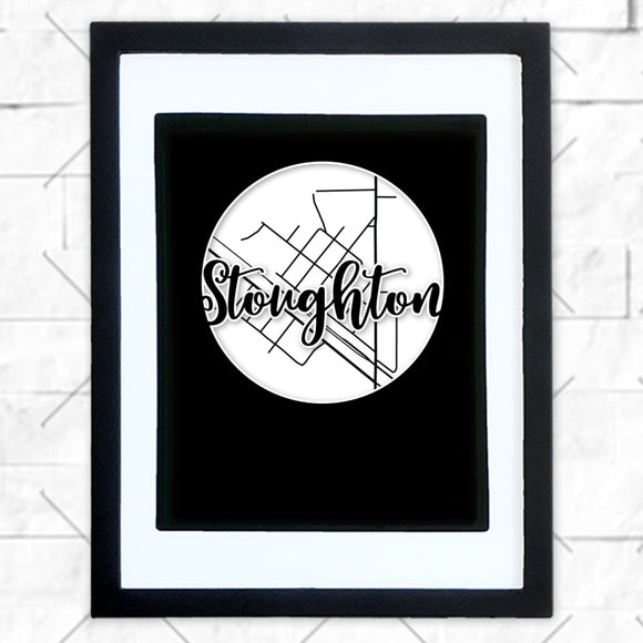 Close-up of Stoughton hometown map design in black shadowbox frame with white matte