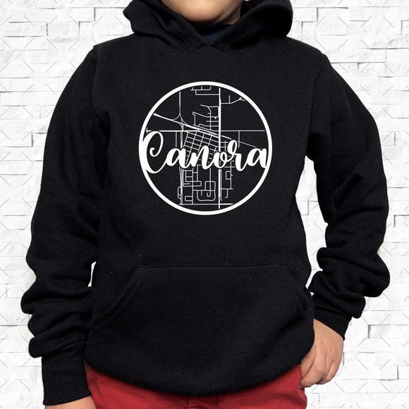 youth-sized black hoodie with white Canora hometown map design