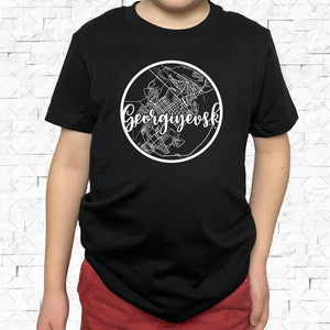 youth-sized black short-sleeved shirt with white Georgiyevsk hometown map design