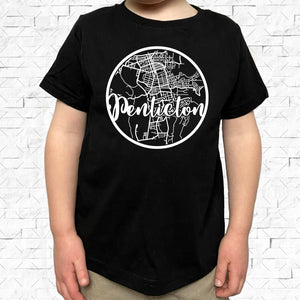 toddler-sized black short-sleeved shirt with white Penticton hometown map design