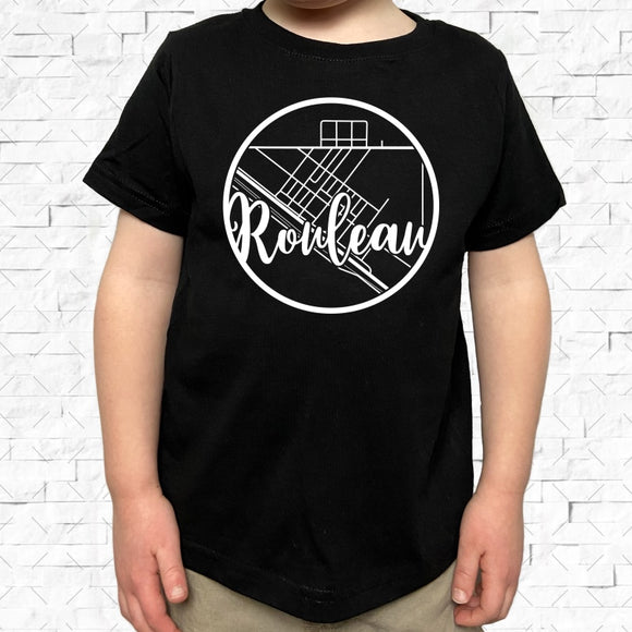 toddler-sized black short-sleeved shirt with white Rouleau hometown map design