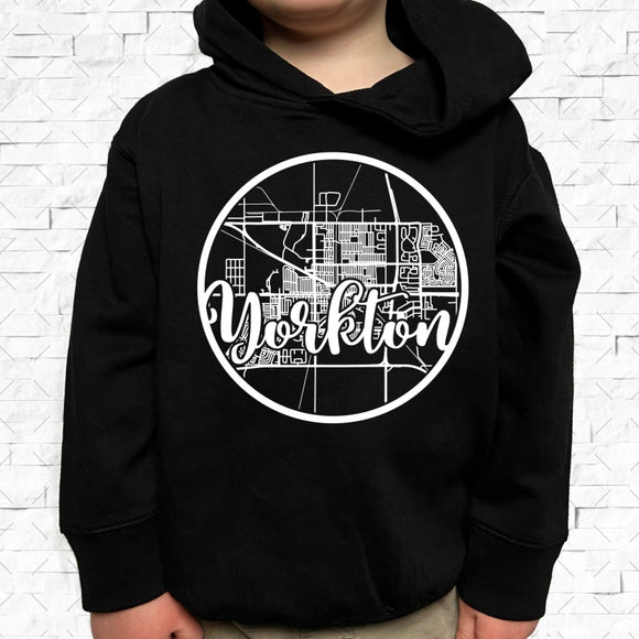 toddler-sized black hoodie with Yorkton hometown map design