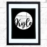 Close-up of Kyle hometown map design in black shadowbox frame with white matte