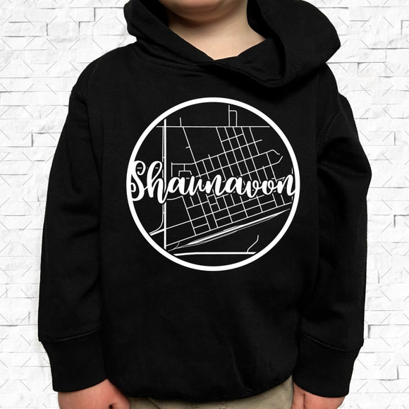 toddler-sized black hoodie with Shaunavon hometown map design