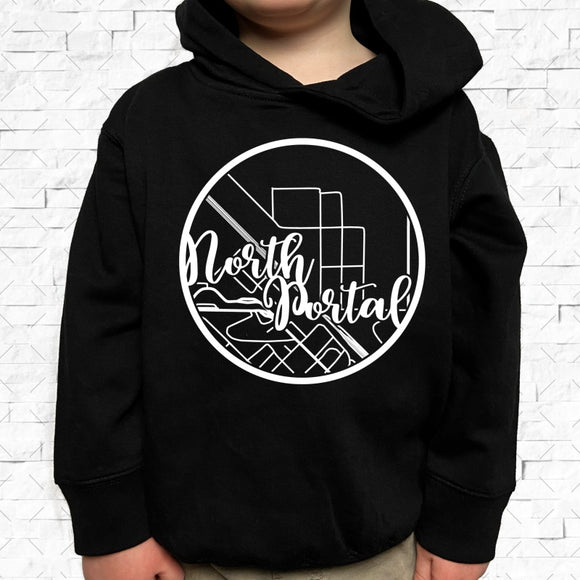 toddler-sized black hoodie with North Portal hometown map design