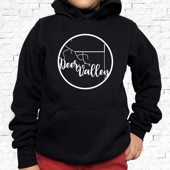 youth-sized black hoodie with white Deer Valley hometown map design