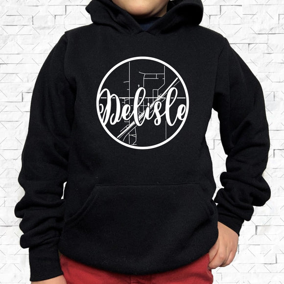 youth-sized black hoodie with white Delisle hometown map design