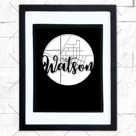 Close-up of Watson hometown map design in black shadowbox frame with white matte
