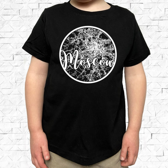 toddler-sized black short-sleeved shirt with white Moscow hometown map design