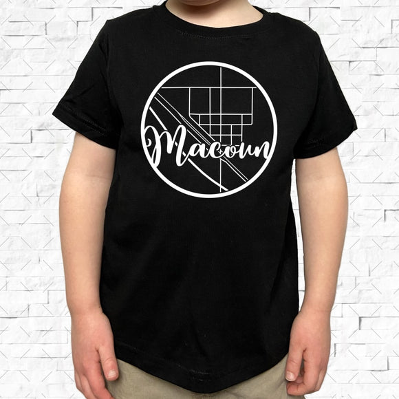 toddler-sized black short-sleeved shirt with white Macoun hometown map design