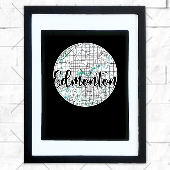 Close-up of Edmonton hometown map design in black shadowbox frame with white matte