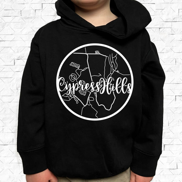 toddler-sized black hoodie with Cypress Hills hometown map design
