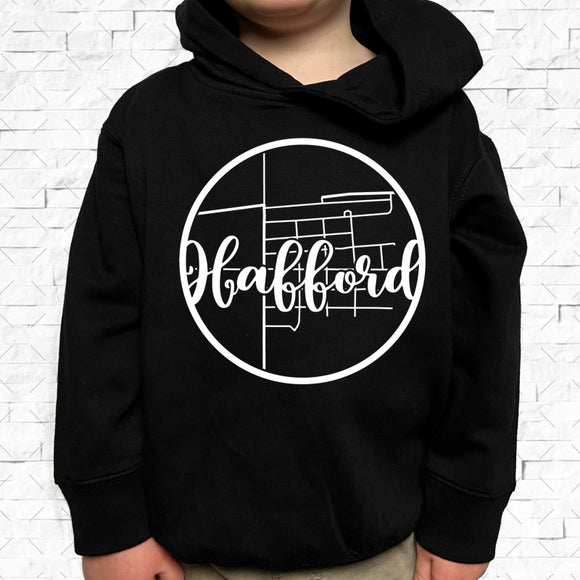 toddler-sized black hoodie with Hafford hometown map design