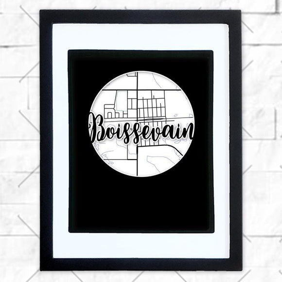 Close-up of Boissevain hometown map design in black shadowbox frame with white matte