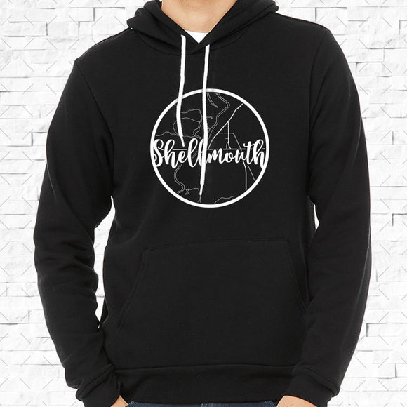 adult-sized black hoodie with white Shellmouth hometown map design