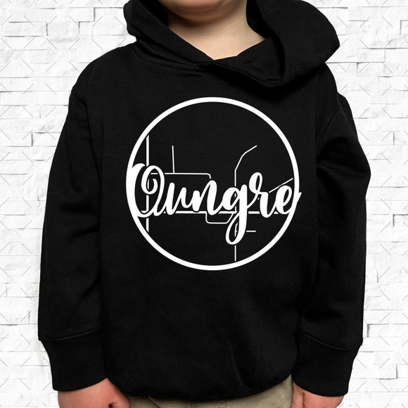 toddler-sized black hoodie with Oungre hometown map design