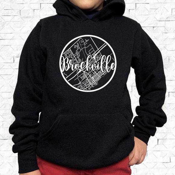 youth-sized black hoodie with white Brockville hometown map design