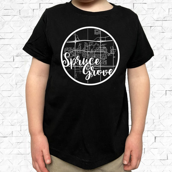 toddler-sized black short-sleeved shirt with white Spruce Grove hometown map design