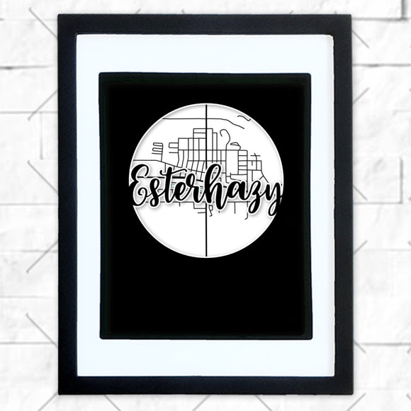 Close-up of Esterhazy hometown map design in black shadowbox frame with white matte
