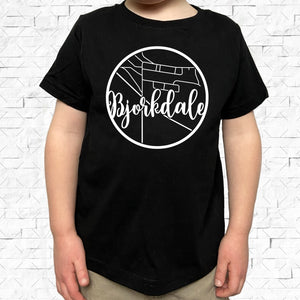 toddler-sized black short-sleeved shirt with white Bjorkdale hometown map design