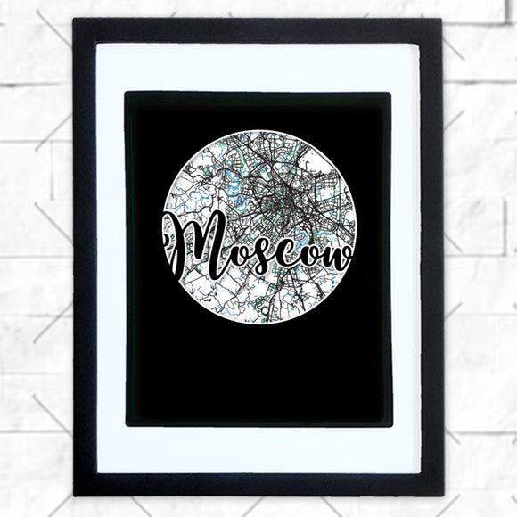 Close-up of Moscow hometown map design in black shadowbox frame with white matte