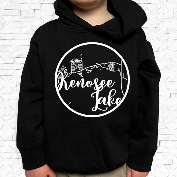 toddler-sized black hoodie with Kenosee Lake hometown map design